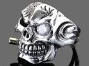 【RG-SG004】SILVER 925★スカル(髑髏)スモークwith(キュービックジルコニア)シルバーリング/ドクロ/骸骨/ガイコツ【指輪】/メンズ/レディ...