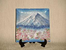 七宝焼 飾皿 8×8 富士桜
