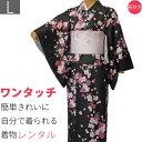 着物 レンタル 春秋冬用 レディース 袷 小紋 セット「Lサイズ」黒・夜桜 (1116)