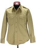 シャツジャケットに最適な厚地のミリタリーシャツ。リアルなステンシル入りタイプ。アメリカ軍M46コットンカーキシャツ(ステンシル入り) ミリタリーGI