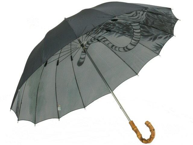 """弩迫力の""""虎(Tiger)""""裏柄一枚張り雨傘 カーボン16本骨 紳士長【_包装】 丈夫で軽い大判カーボン16本骨傘"""
