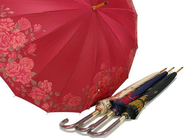 前原光榮商店 絵羽調バラ柄ジャガードの婦人用16本骨雨傘 フェアリーローズ(Fairy Rose)皇室御用達前原光栄商店製【_包装】 おしゃれで丈夫な皇室御用達職人手造り日本製レディース傘