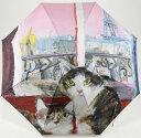 ショッピングマンハッタナーズ マンハッタナーズ レディース雨傘 耐風傘女 長傘 かさ Manhattaner's「ピンク色のパリの夕暮れ」(手開き) 婦人用【楽ギフ_包装】