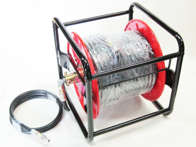 30メートル 3/8(3分) ワンタッチカプラー付高圧洗浄機ホース リール巻     高圧洗浄機【精和産業・フルテック・ワグナー等対応】