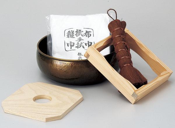 茶巾たらいセット (釜底タワシ・水屋雑巾・杉釜据・板釜敷付)