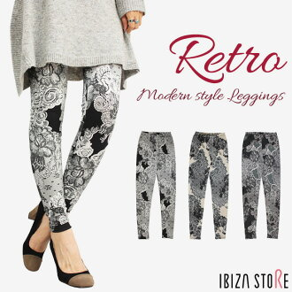 Retro print designs 10-length leggings ★ lace modern lace harmonic pattern lace pattern 10-minute-length leggings Mrs flower pattern bkgrbei * * komoret