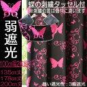 カーテン 弱遮光性 黒ピンク 100cm幅2枚組 ガーリー アゲハチョウ『 蝶 』 ショッキングピン
