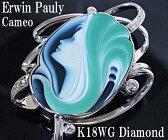 「エルヴィン・ポーリー」メノウカメオK18WGダイヤモンドブローチ【質屋出店】 【送料無料】【楽オクハイジュエル】