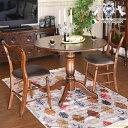 イングランドアンティーク調オーク ダイニングテーブル90(丸) 3点セット ダイニングセット 2人用 食卓 机 オーク家具 英国調 クラシック ヨーロピアン くつろぎ おしゃれ ぬくもり 木目 丸天板 直径90 椅子 チェアー