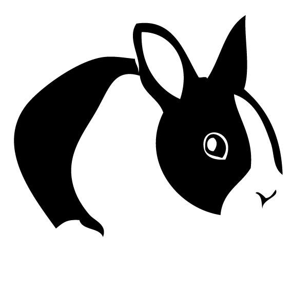 うさぎ デザインカッティングステッカー 小型 Rabbit 兎 ウサギ ドワーフホト