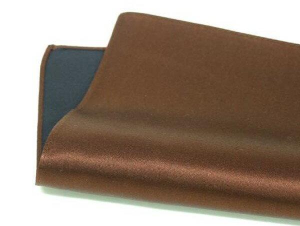 ◆日本製◆ポケットチーフ◇シルクサテン◇ブラウン・茶◇無地絹100% メール便可