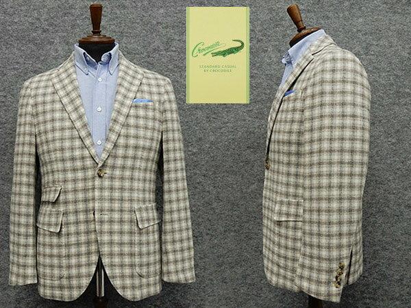 秋冬物ジャケット [crocodile] クロコダイル [AB体仕様] ベーシック2釦 ベージュ系チェック メンズ ブランド ジャケット