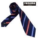 ◇renoma◇イタリア製ネクタイ◇濃紺◇ストライプ◇シルク1