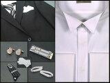 05P27Jun14◆正式モーニング用シャツ◆  ディレクターズスーツ兼用ウィングシャツ&黒縞ネクタイ&備品8点フルセット