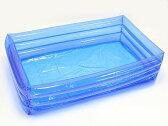 【非フタル酸】青透明ビニールプール(100cm角型)ポンプ付き 【縁日 イベント】 【あす楽対応】