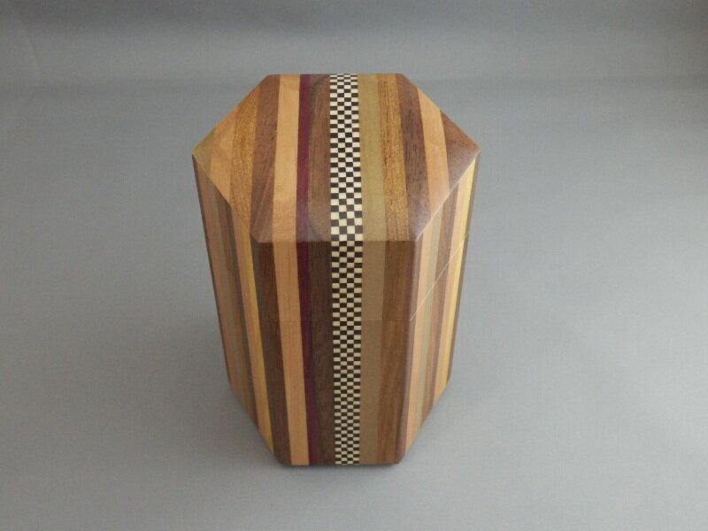 寄木無垢六角茶筒 シマ市松 寄木細工/箱根寄木細工