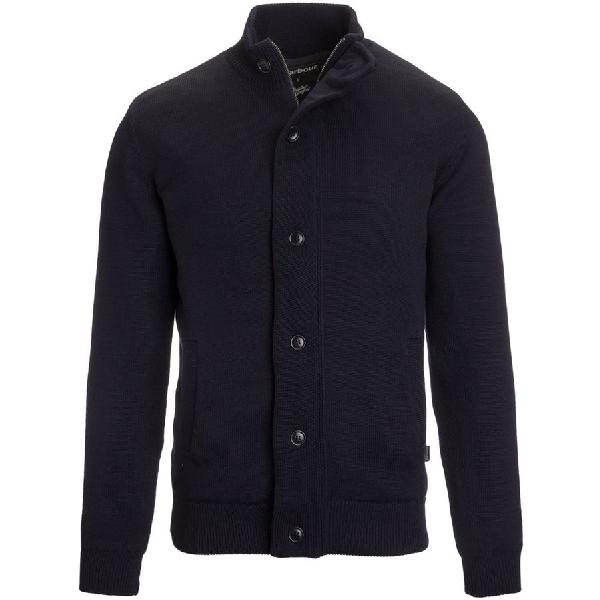 (取寄)バブアー メンズ ファルコナー ボタン スルー セーター Barbour Men's Falconer Button Through Sweater Navy 【コンビニ受取対応商品】