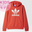アディダス オリジナルス キッズ(レディース)スウェット パーカー レッド adidas Originals Boys Trefoil Hoodie Sweatshirt Lusred/White 02P29Jul16