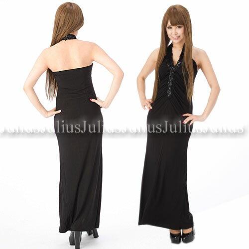 ■スパンコールホルター豪華なロングドレス黒/hc02a