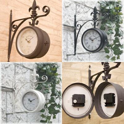【即納】壁掛式両面時計♪ノーブルアイアン ボスサイドウォールクロック♪Lサイズ♪