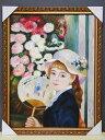【受注制作】新品ルノワール/ルノアール/団扇を持つ若い女/クラーク美術館蔵/肉筆複製画模写88.5cm×68.5cm 直筆西洋絵画