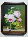 【新品大型】肉筆画ピンクのバラ薔薇/サイズ大92cm×72.5cm 直筆現品 大サイズ西洋絵画