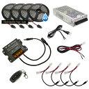 【らくらく100cm×4本セット】 防水3チップ LEDテープライト+調光器+対応アダプター付き