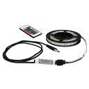 USB 流れる LED防水テープライト200cm RGB/カラフル[3528 SMD] 24キーリモコン型 白ベース DC5V