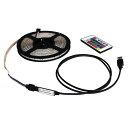 USB 流れる LED防水テープライト500cm RGB/カラフル[3528 SMD] 24キーリモコン型 白ベース DC5V