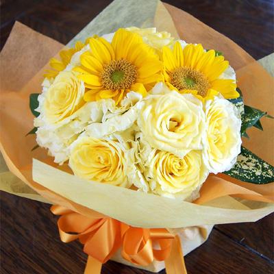 お中元ギフト花プレゼント送料無料ヒマワリイエローデコールブーケ花瓶のいらない花束生花花束生花花束ひま