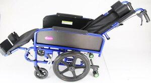 リクライニング式車椅子『アポロン』ブルーコンパクトタイプ介助用車いす折り畳み式車イスノーパンクタイヤA801-BL
