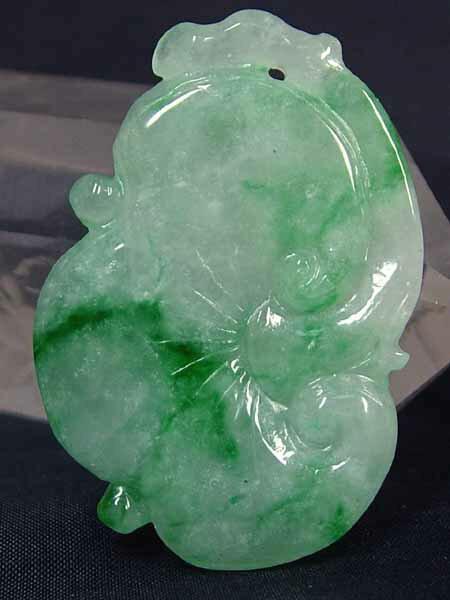 ■龍香堂■☆A貨ミャンマー氷種翡翠トップ 大如意(43mm) 緑色が綺麗な【シンボリック】