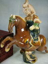 ■龍香堂■☆【中国骨董品】唐三彩(とうさんさい)騎手像