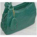 【中古】女性用濃い緑色収納部分が5つに分かれているハンドバッグ サイズW27,5H22,5D9cm ○C12-349