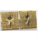 ショッピング紳士 【中古】綺麗紳士用光り輝く四角い金色金具のカフスボタン表面に格子模様その中に飾り彫りあります ○D13-8-3