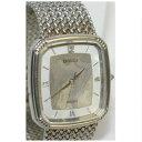 【中古】完動品セイコーの紳士用の銀色四角いブレスタイプの時計ドルチェ5E31-5A90 定価8万円 ○A14-40