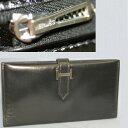 【中古】本物美品エルメス女性用人気の黒い革素材長財布ベアン17,5,9,2センチ
