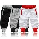 [cn-if-14]●ハーフパンツ●デザイン クロップドパンツ メンズ カジュアルパンツ ショートパンツ メンズ スエット 7分丈 グレー 黒 白