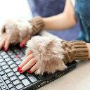 ファー付き指なし手袋【a-1312】