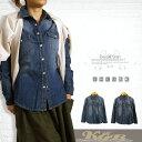 ダンガリーシャツ デニム シャツ ボタンシャツ レディース 長袖 羽織 大きいサイズ Blueブルー/Navyネイビー M/L/LL/3L/4L