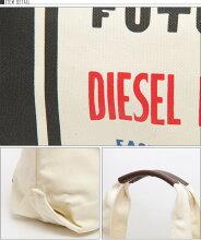■DIESELディーゼル男女兼用■本革レザー使いキャンバス生地ロゴトートバッグ鞄【PIONEER】【サイズUNI】【ホワイト】die-m-a-56-4164