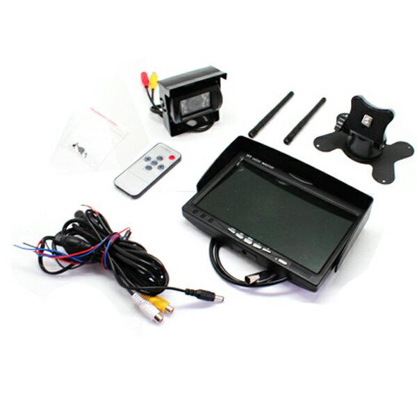 液晶モニター & バックカメラ セット 12V/24V 無線タイプ 7インチ液晶バックモニター/オンダッシュ/ヘッドレスト