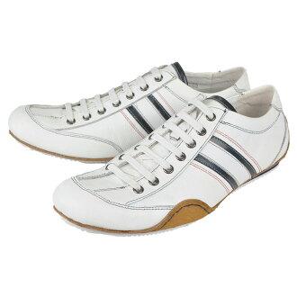 3 GS (三代) 103-0412AD-141 白色皮革鞋休閒男裝休閒鞋蕾絲鞋帶皮革巴士籠成人休閒