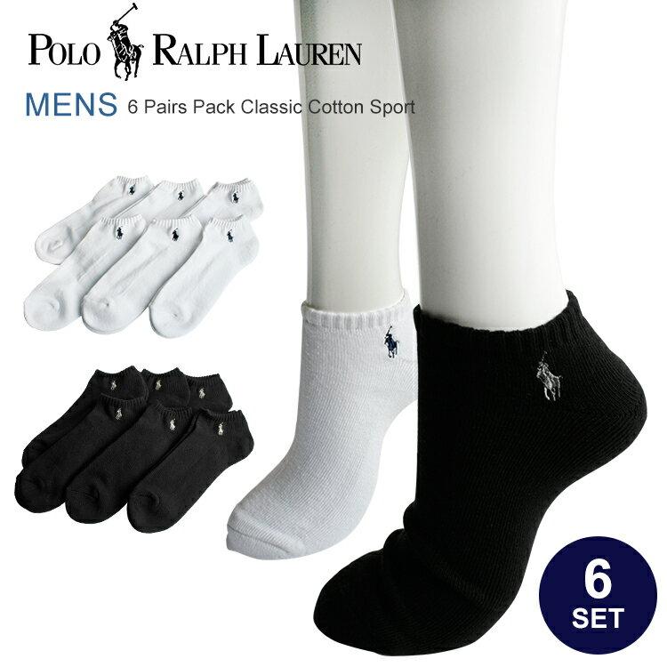 Polo Ralph Lauren ポロ ラルフローレン 靴下 メンズ くるぶし ソックス 父の日 ギフト スニーカーソックス アンクルソックス ショートソックス 6足セット 827001PK ブラック ホワイト