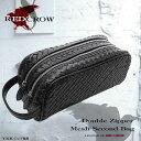 【送料無料】≪RED CROW≫ 牛革ダブルファスナーメッシュ編み込みセカンドバッグ RC-2393