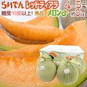 """北海道 赤肉メロン """"らいでんレッドティアラメロン"""" 秀品 4〜5玉 約8kg 産地箱"""