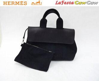HERMES HERMES bag Valparaiso PM トワルシェヴロンヴォースイフトブラック like-new fs3gm