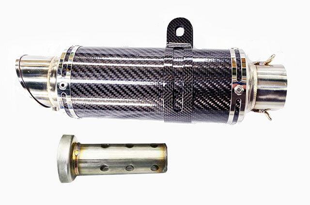 汎用 LCIPARTS ショートカーボンマフラー カーボンサイレンサーバンド付き 差込径60.5mm