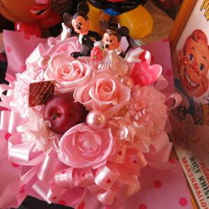 結婚祝い ディズニー フラワーギフト 花 プチ プリザーブドフラワー ウェディング ミッキー ミニーB ケース付き ◆・・・