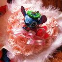 スティッチ 花  誕生日プレゼント ハート フラワーギフト スティッチ クリアーケース付き ハート プリザーブドフラワー